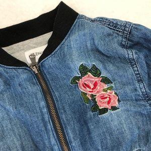 Hudson Girls Chambray Bomber Jacket Size M